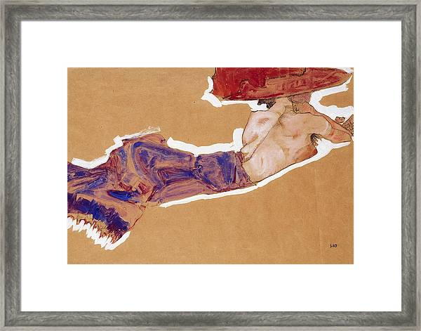 Reclining Semi-nude With Red Hat Framed Print