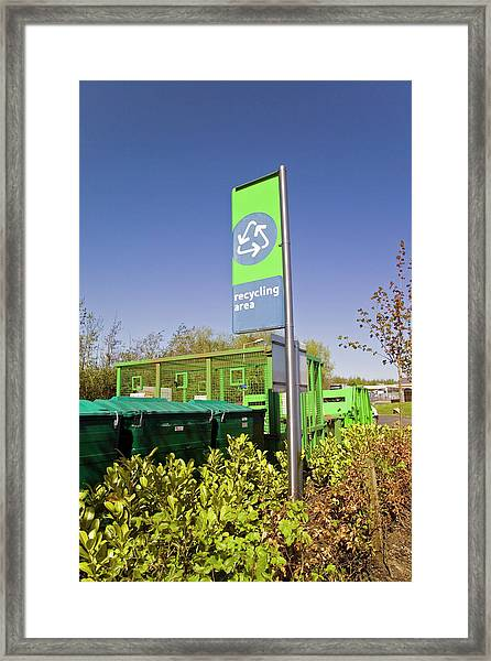 Recycling Collection Point Framed Print by Simon Fraser/science Photo Library