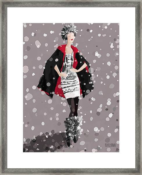 Red And Black Cape In The Snow Fashion Illustration Art Print Framed Print