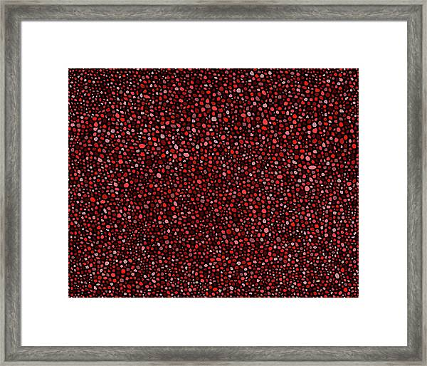 Red And Black Circles Framed Print
