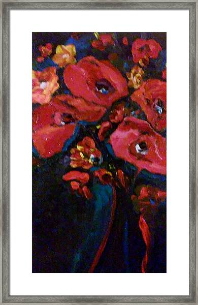 Framed Print featuring the painting Red And Blue by Ray Khalife
