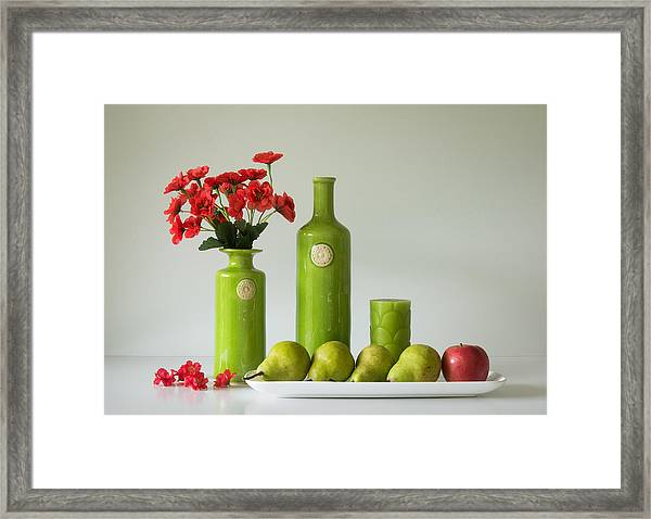 Red And Green With Apple And Pears Framed Print by Jacqueline Hammer