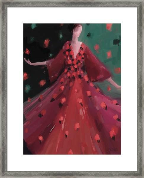 Red And Orange Petal Dress Fashion Art Framed Print