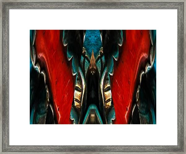 Red And Silver Abstract Framed Print