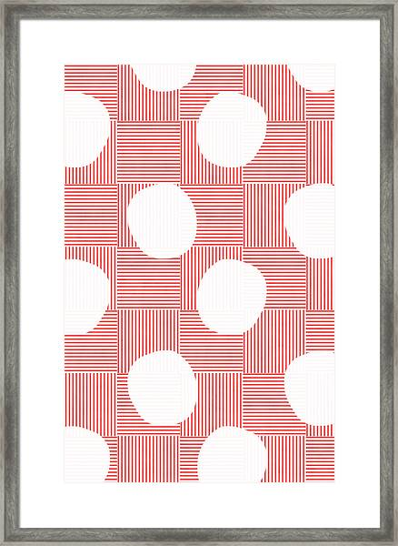 Red And White Poof  Framed Print