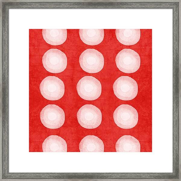 Red And White Shibori Circles Framed Print