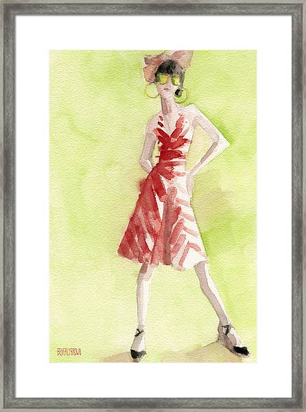 Red And White Striped Dress Fashion Illustration Art Print Framed Print