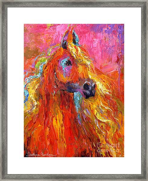 Red Arabian Horse Impressionistic Painting Framed Print