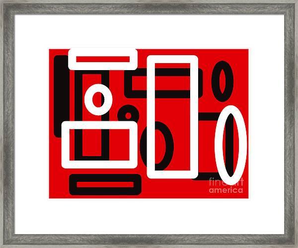 Red Back And White Design Framed Print