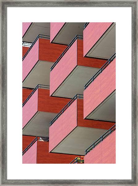 Red Balconies Framed Print by Jannis Werner