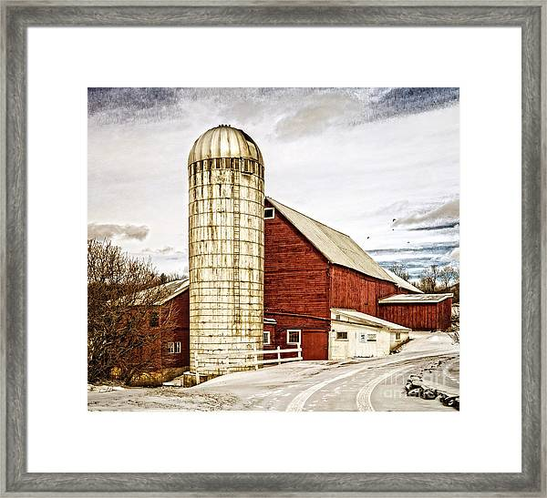 Red Barn And Silo Vermont Framed Print