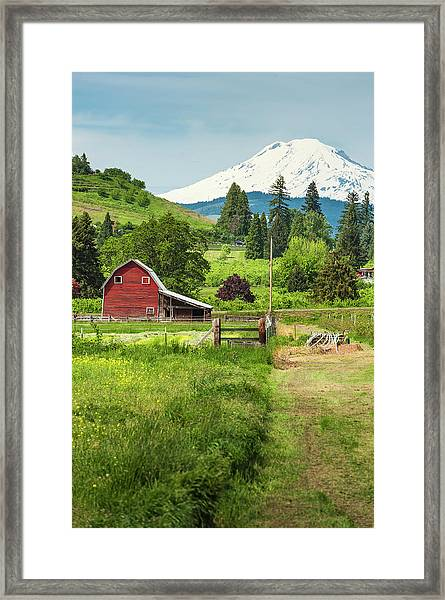 Red Barn Green Farmland White Mountain Framed Print