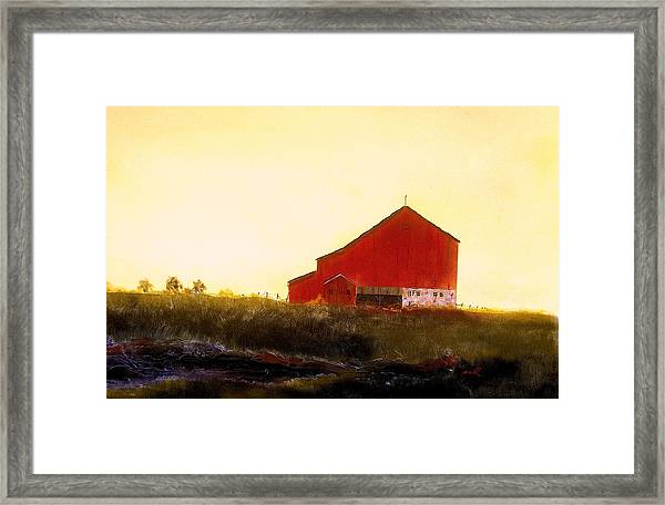 Red Barn On The Rocks Framed Print