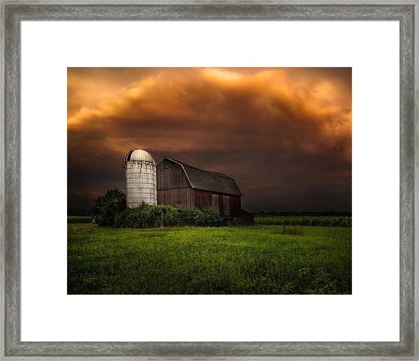 Red Barn Stormy Sky - Rustic Dreams Framed Print