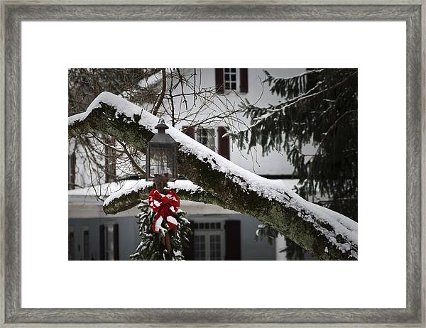 Red Bow Candle Light Framed Print