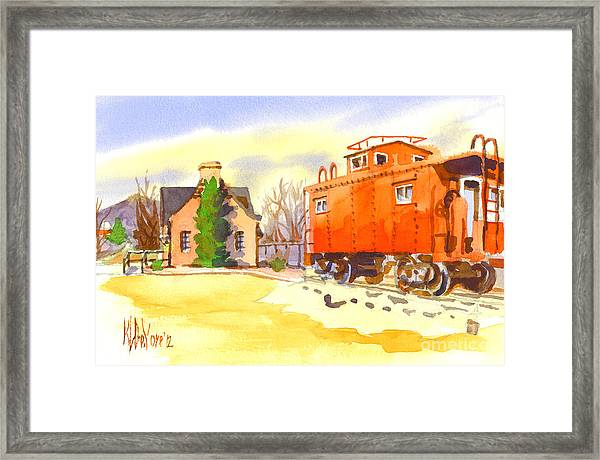 Red Caboose At Whistle Junction Ironton Missouri Framed Print