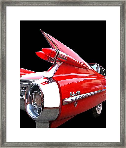 Red Cadillac Sedan De Ville 1959 Tail Fins Framed Print