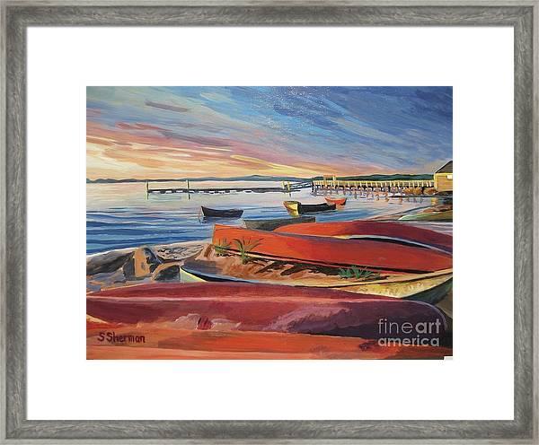 Red Canoe Sunset Framed Print