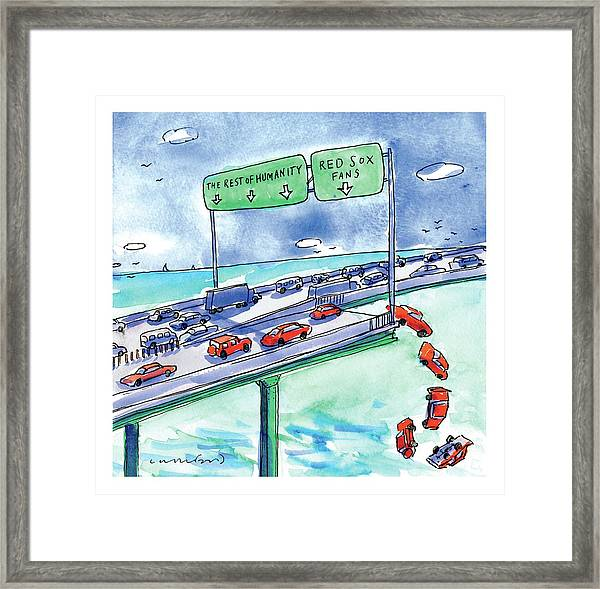 Red Cars Drop Off A Bridge Under A Sign That Says Framed Print