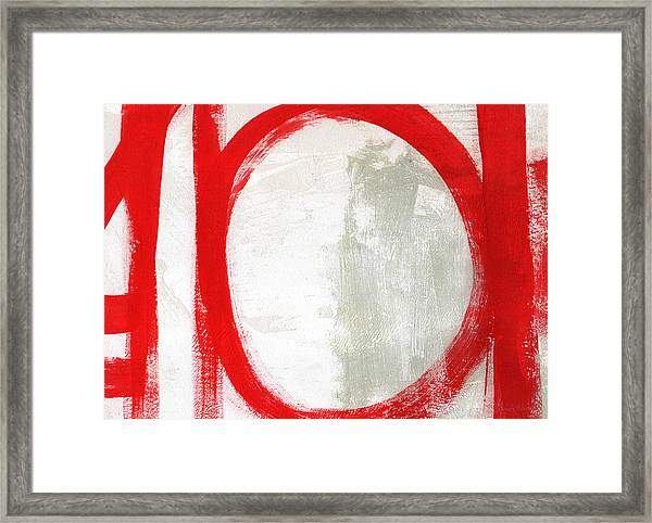 Red Circle 3- Abstract Painting Framed Print