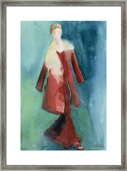 Red Coat And Long Dress - Watercolor Fashion Illustration Framed Print