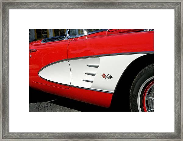Red Corvette Framed Print