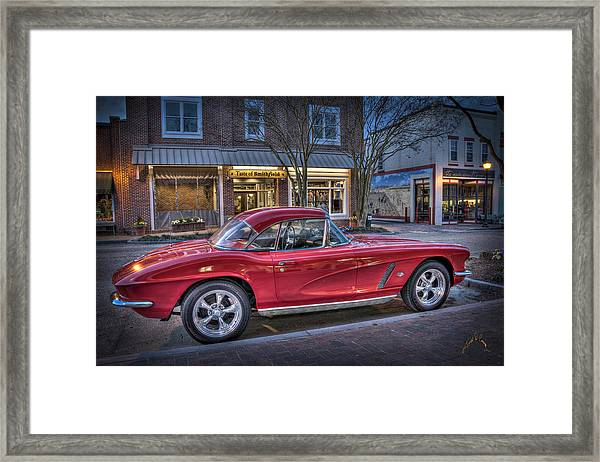 Red Corvette Framed Print by Williams-Cairns Photography LLC