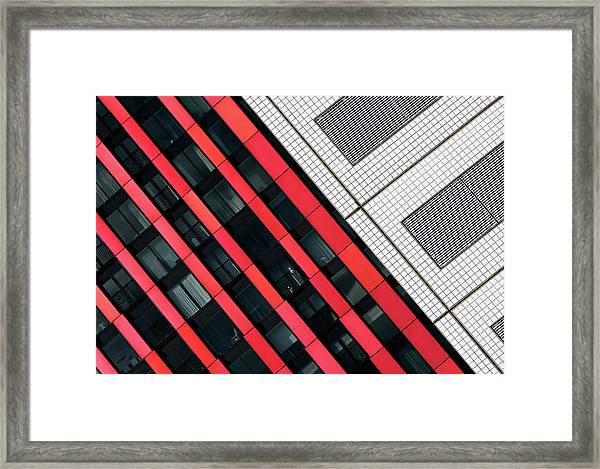 Red Diagonals. Framed Print by Greetje Van Son