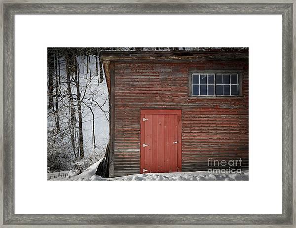 Red Door Red Barn Framed Print