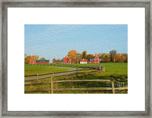 Red Farm House And Barns Framed Print