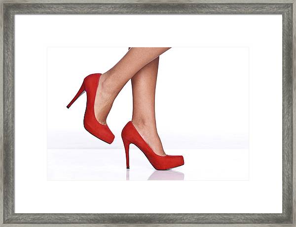 Red Female Shoes Framed Print by Juanmonino