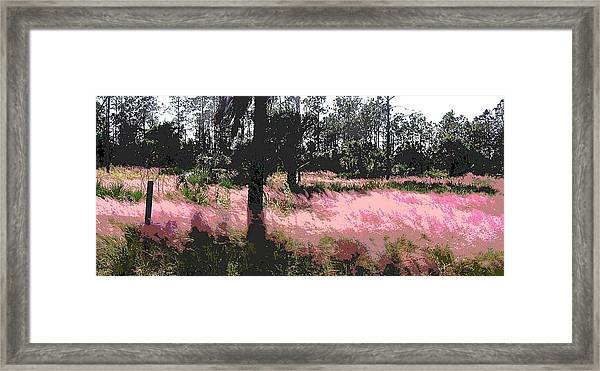 Framed Print featuring the painting Red Fire Grass Field Gulf Coast Florida by G Linsenmayer