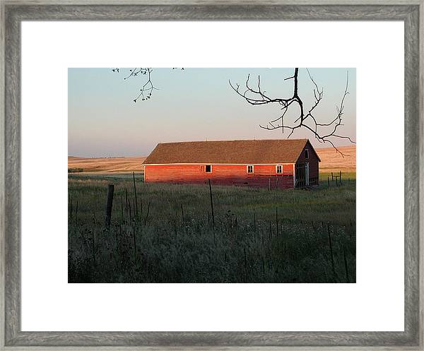 Red Granary Barn Framed Print