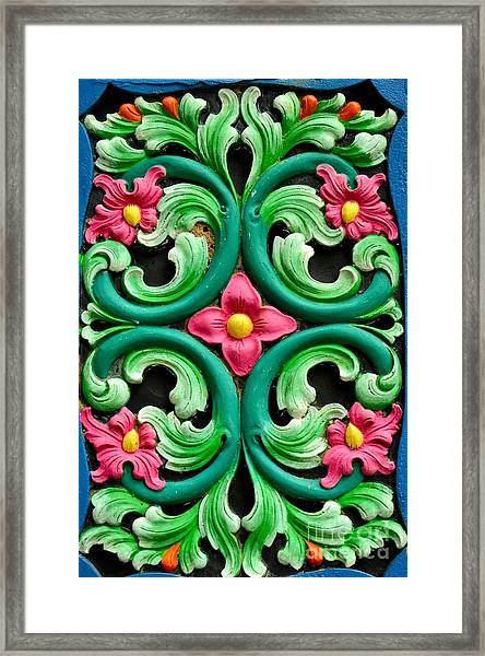 Red Green And Blue Floral Design Singapore Framed Print