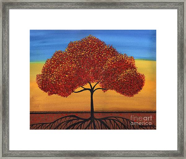 Red Happy Tree Framed Print