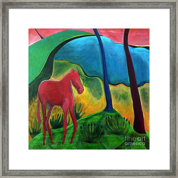 Red Horse Framed Print by Elizabeth Fontaine-Barr
