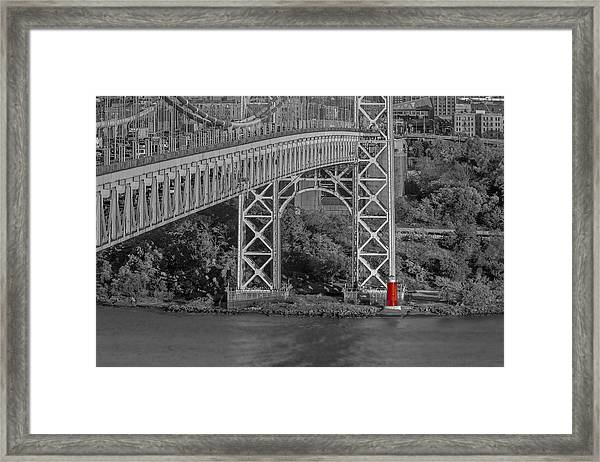 Red Lighthouse And Great Gray Bridge Bw Framed Print