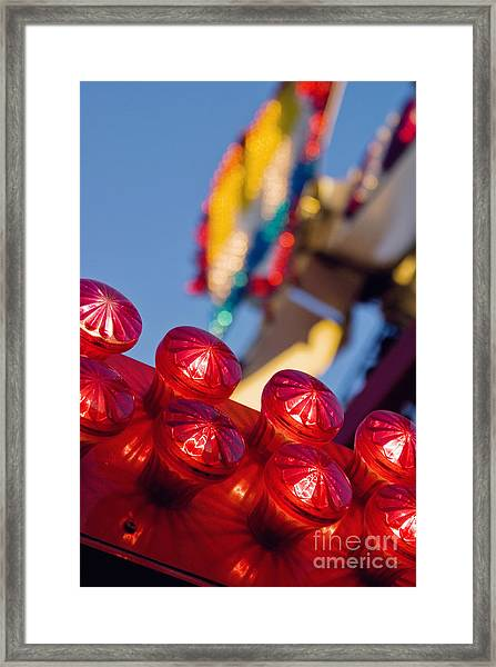 Red Lights At The County Fair Framed Print