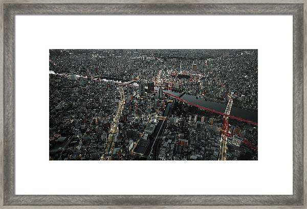 Red Line In The Dark Tokyo. Framed Print