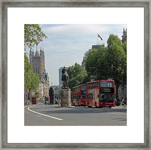 Red London Bus In Whitehall Framed Print