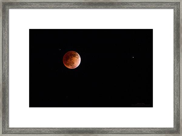 Red Moon And Spica By Denise Dube Framed Print