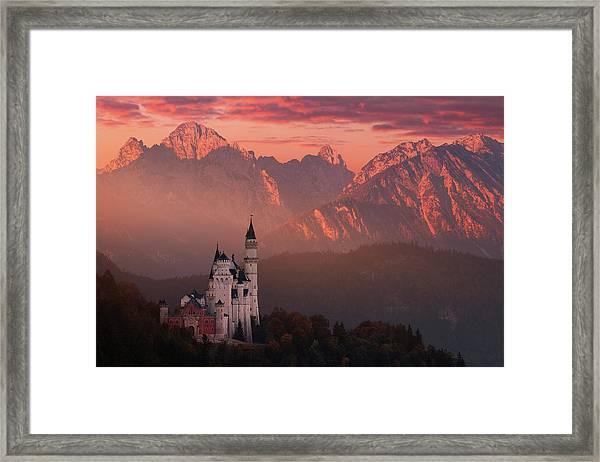 Red Morning Above The Castle Framed Print