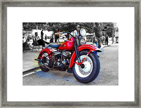 Red Rider On Black Framed Print
