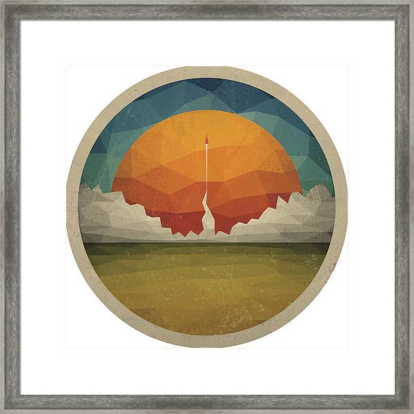 Red Rocket Flies Start Up Concept Vector Of Triangles Framed Print by Magnilion