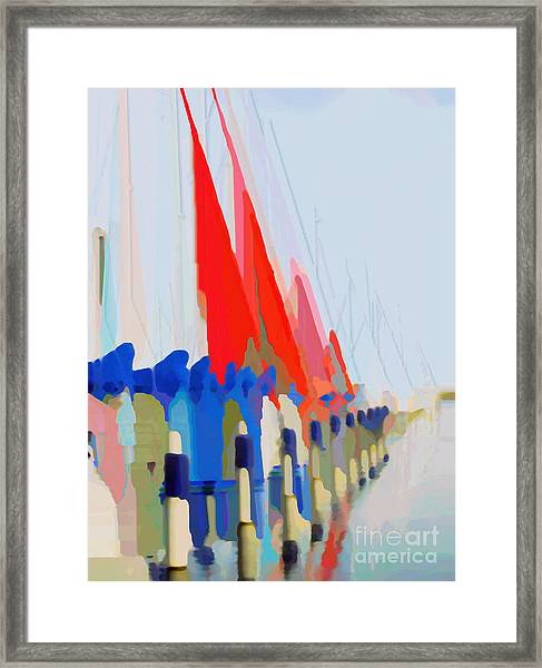 Red Sails In The Sunset Framed Print