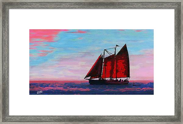 Framed Print featuring the painting Red Sails On The Chesapeake - New Multimedia Acrylic/oil Painting by G Linsenmayer