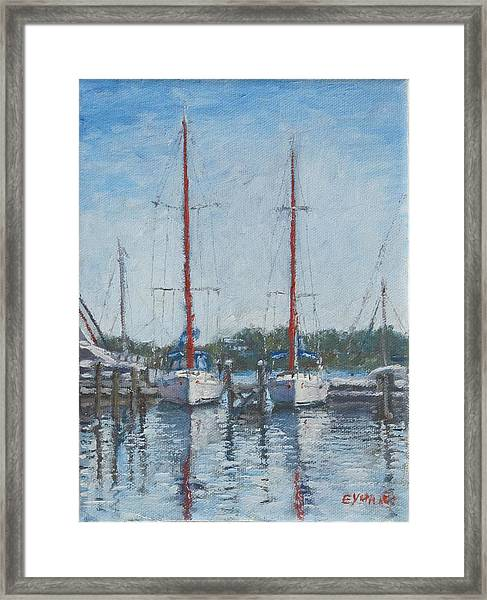 Red Sails Under Gray Sky Framed Print
