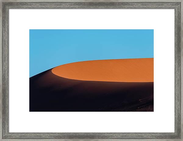 Red Sand Dune And Blue Sky, Namibia Framed Print by Paranyu Pithayarungsarit