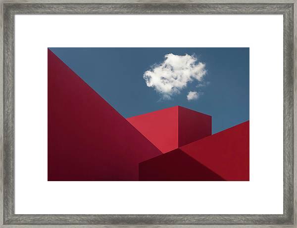 Red Shapes Framed Print by Hugo Borges