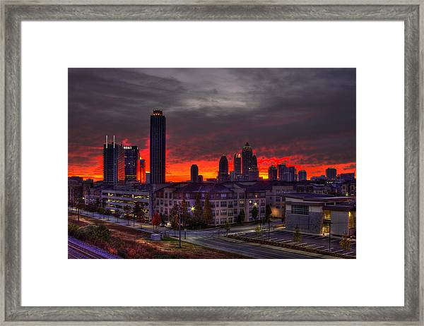 Red Sky Sunrise Midtown Atlanta Framed Print